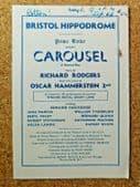 Carousel theatre programme 1952 Rodgers Hammerstein musical Bristol Hippodrome